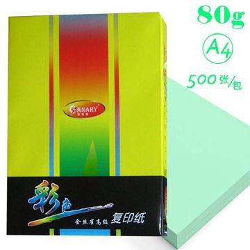 图片 金丝雀(ANARY) A4 80g 彩色复印纸 500p 浅绿色